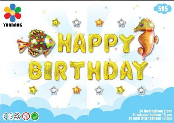 Bong bóng chữ Happy Birthday vàng đồng