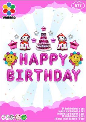 Bong bóng chữ Happy Birthday tone Hồng