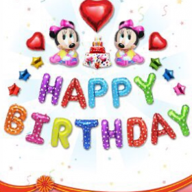 Chữ hình happy birthday mickey baby
